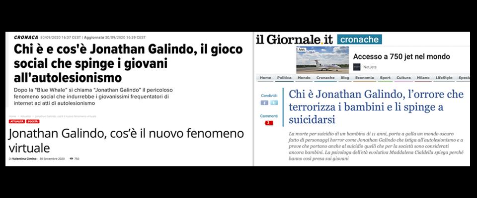 Titoli giornali on line su Jonathan Galindo